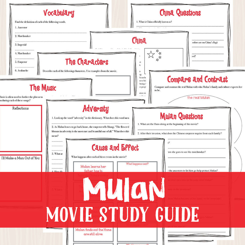 Mulan Movie Study <h5><b>Grades:</b> 3-6 </h5>