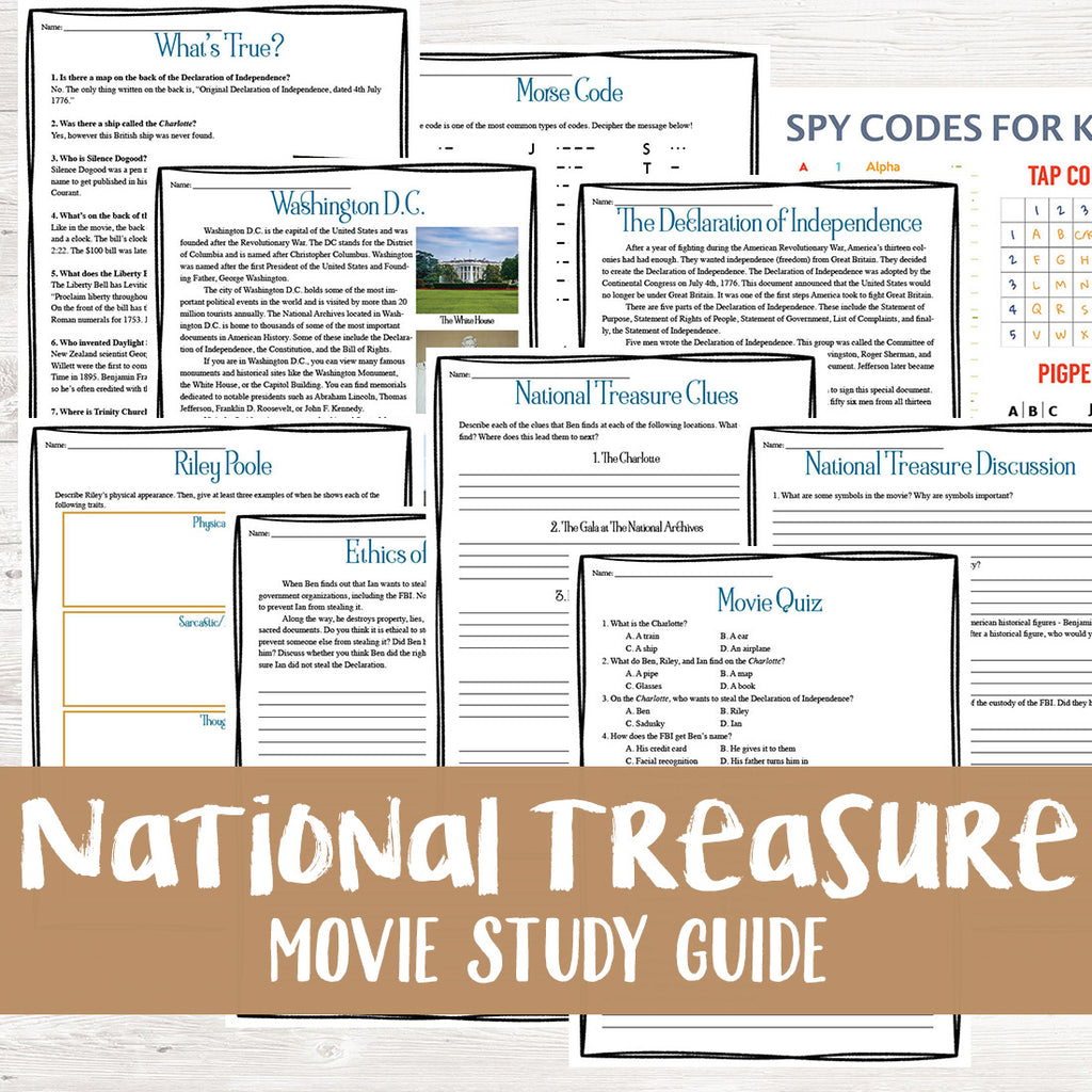 National Treasure Movie Study <h5><b>Grades:</b> 4-7 </h5>
