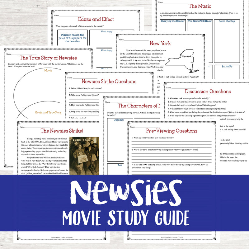 Newsies Movie Study <h5><b>Grades:</b> 4-7 </h5>