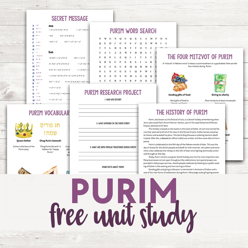 Purim Unit Study <h5><b>Grades:</b> 3-5</h5>