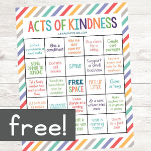 Random Acts of Kindness Bingo <h5><b>Grades:</b> 2-5 </h5>