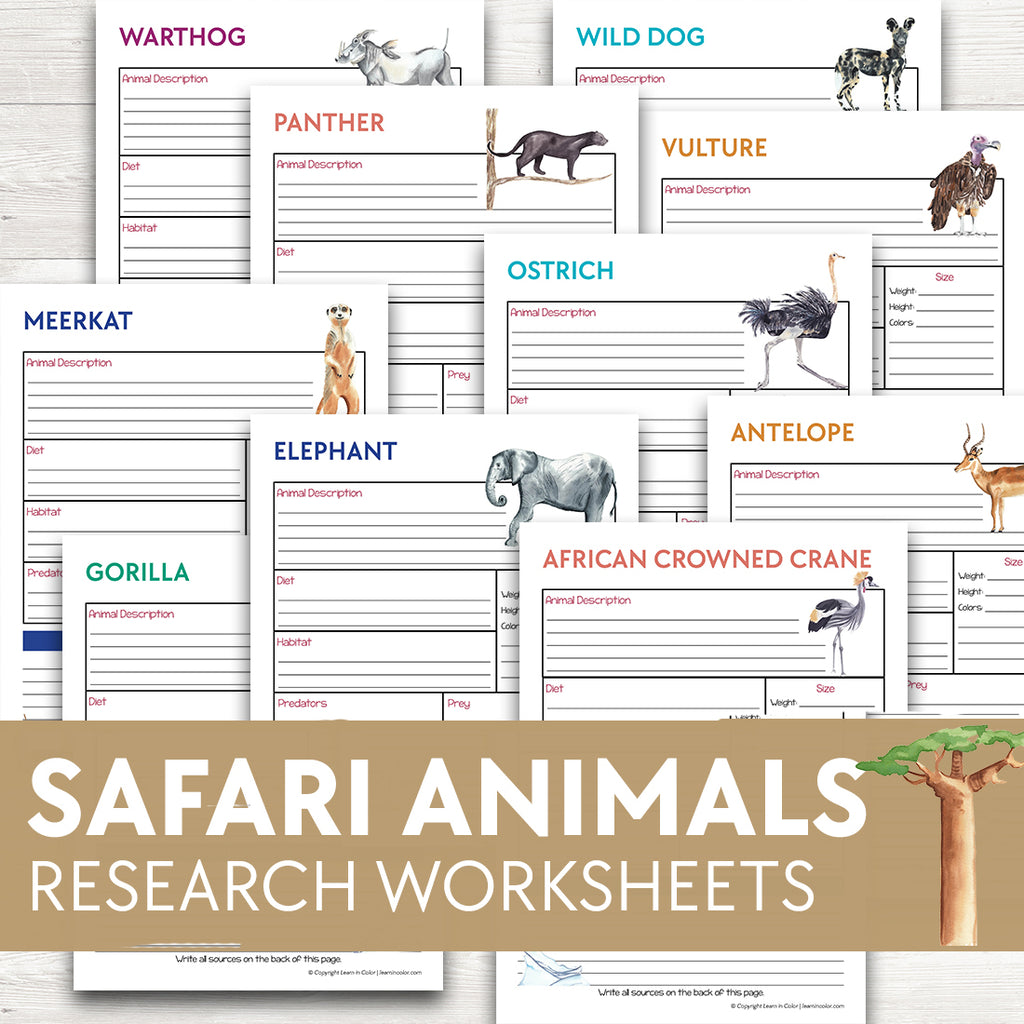 Safari Animals Research Worksheets
