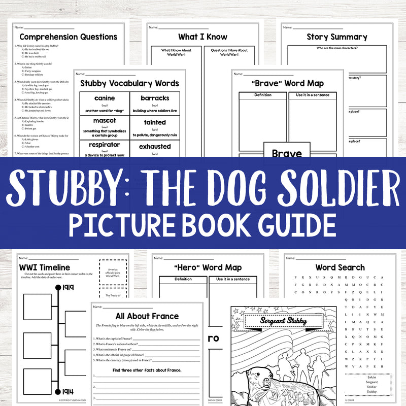 Stubby: The Dog Soldier World War I Hero Book Study <h5><b>Grades:</b> 3-5 </h5>