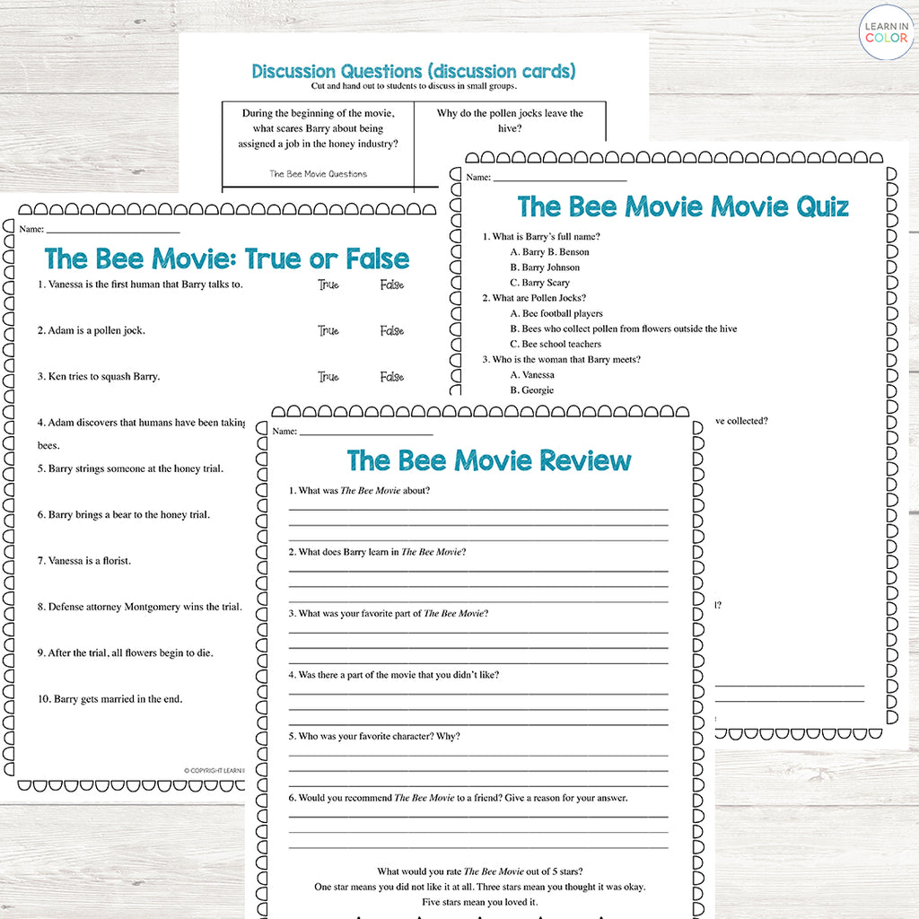 The Bee Movie Study <h5><b>Grades:</b> 3-5 </h5>