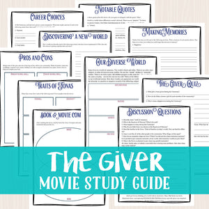 The Giver Movie Study <h5><b>Grades:</b> 5-10 </h5>