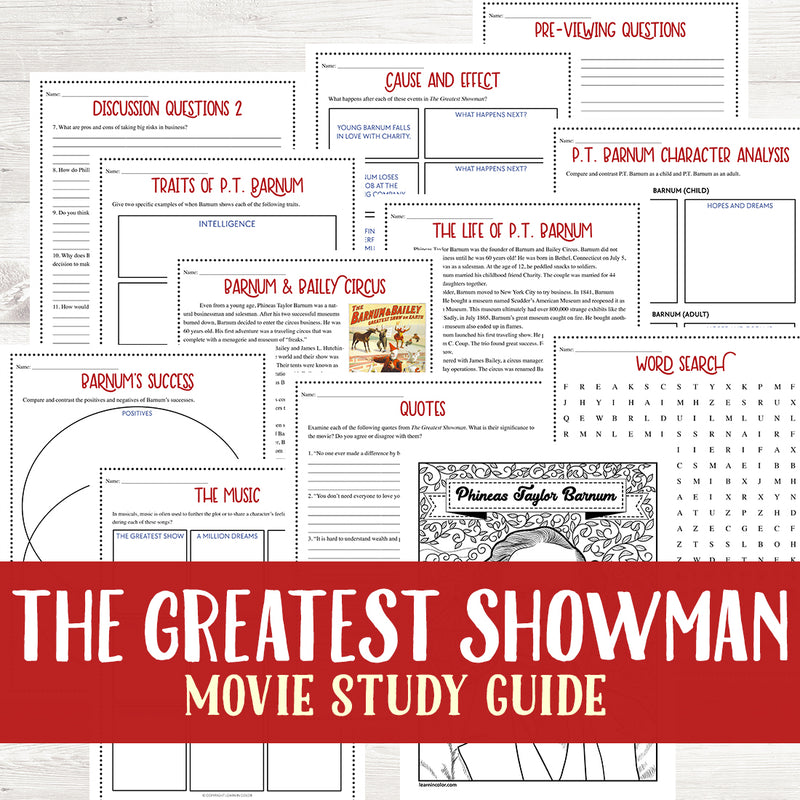 The Greatest Showman Movie Study <h5><b>Grades:</b> 4-7 </h5>
