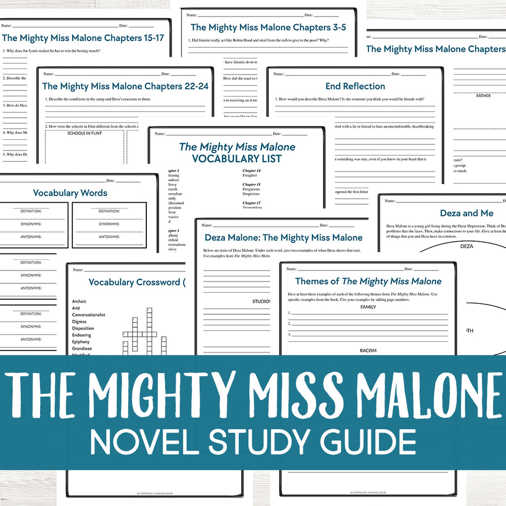 The Mighty Miss Malone Book Study <h5><b>Grades:</b> 5-8 </h5>