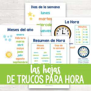 Las Hojas De Trucos Para Hora | Time Cheat Sheets in Spanish