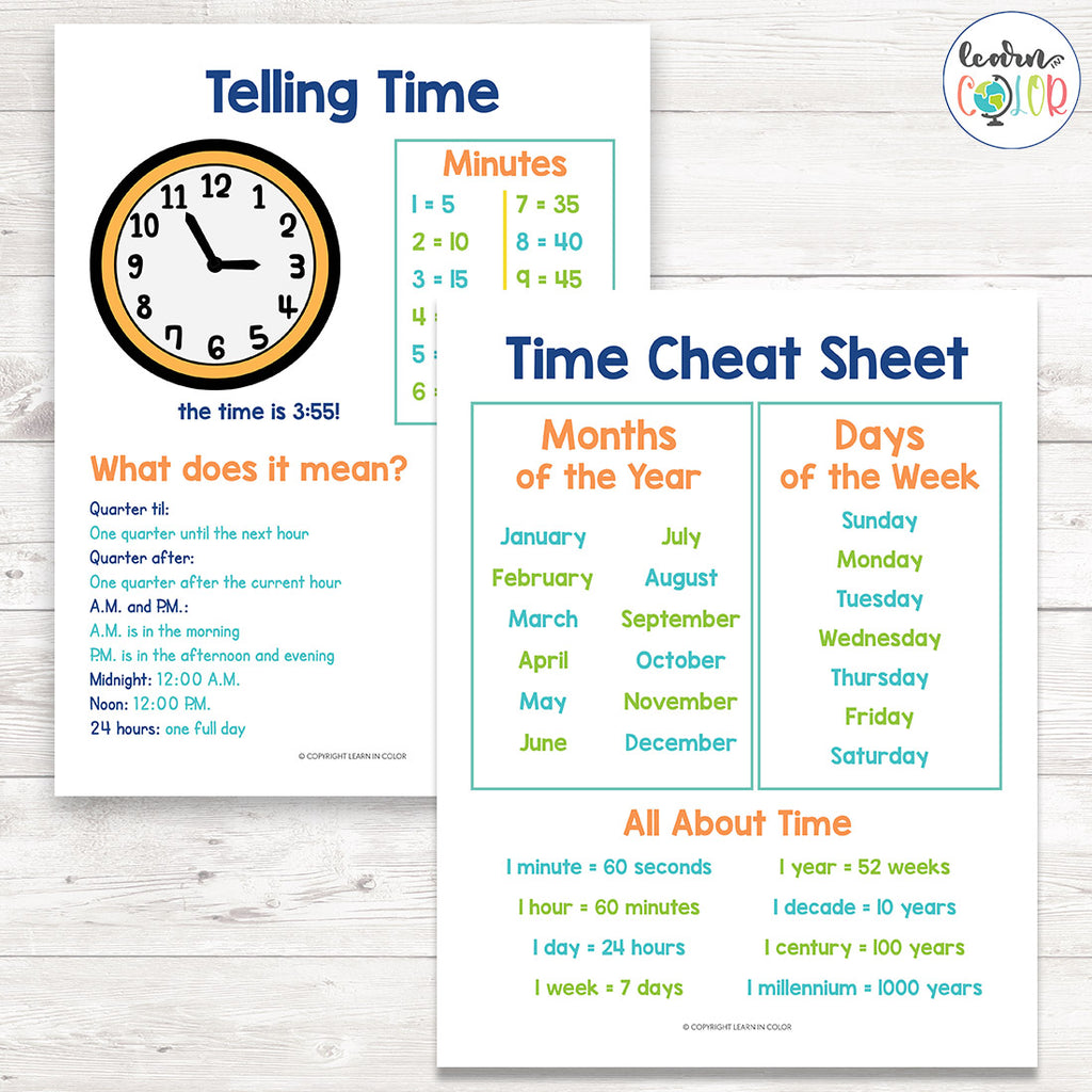 Time Cheat Sheets <h5><b>Grades:</b> 2-4 </h5>