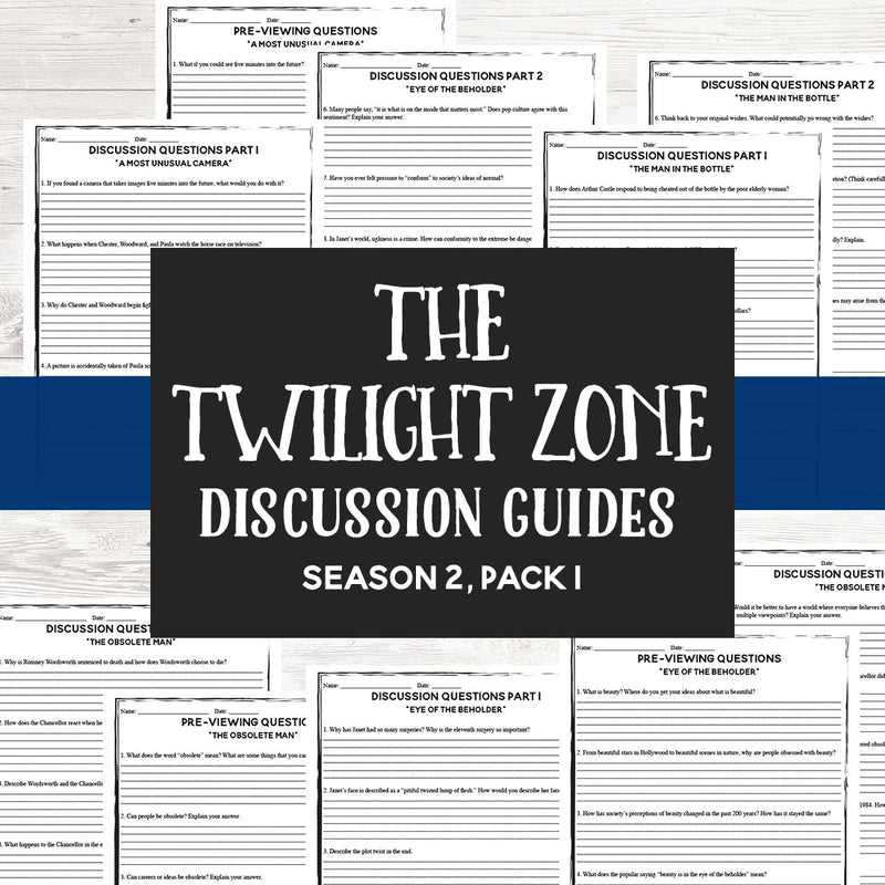 The Twilight Zone Discussion Guides (season 2, pack 1) <h5><b>Grades:</b> 6-10 </h5>