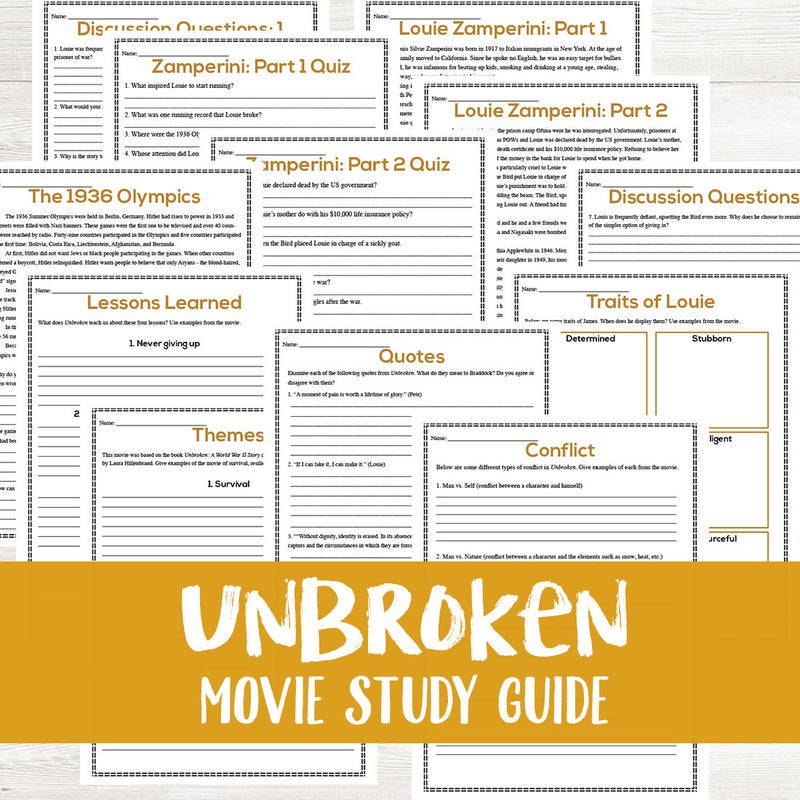 Unbroken Movie Study <h5><b>Grades:</b> 7-10 </h5>
