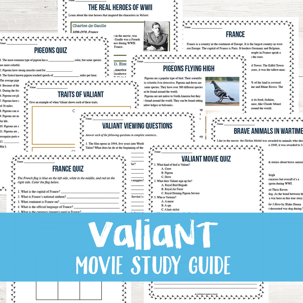 Valiant Movie Study <h5><b>Grades:</b> 4-6 </h5>