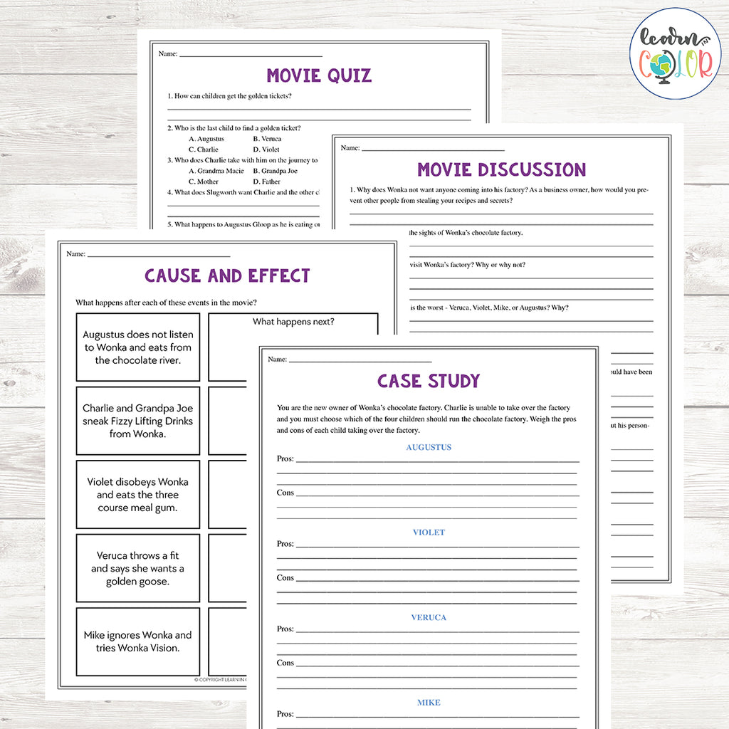 Willy Wonka and the Chocolate Factory Movie Study <h5><b>Grades:</b> 5-7 </h5>