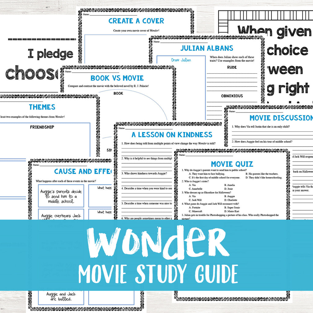 Wonder Movie Study <h5><b>Grades:</b> 4-7 </h5>