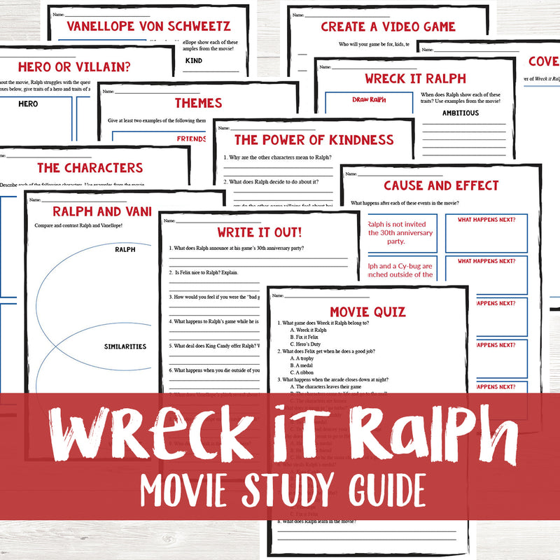Wreck It Ralph Movie Study <h5><b>Grades:</b> 4-7 </h5>