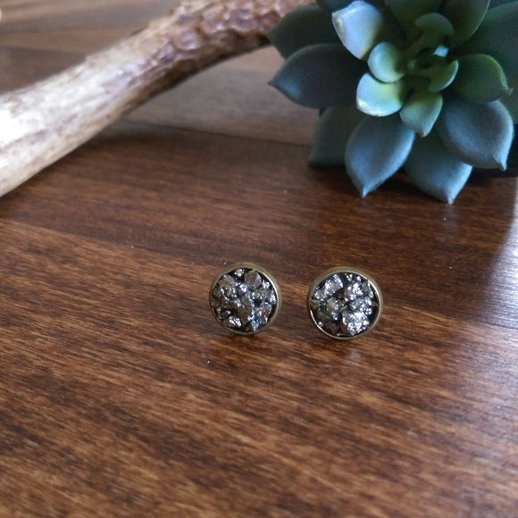 Crushed Pyrite Earrings