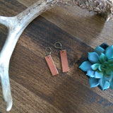 Leather Bar Drop Earrings - Camel