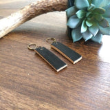 Leather Bar Drop Earrings - Black
