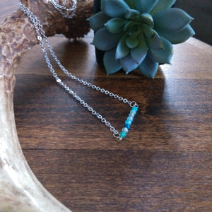 Beaded Bar Necklace - Ocean