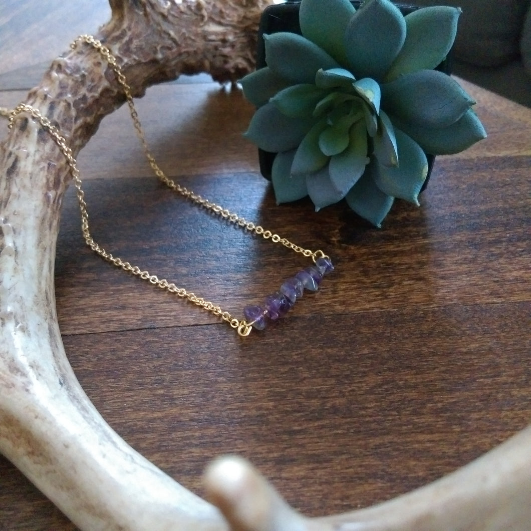 Stone Bar Necklace - Amethyst