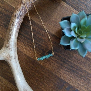 Stone Bar Necklace - Turquoise