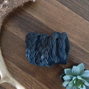 Braided Leather Bracelets - Navy
