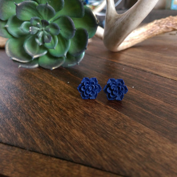 Succulent Stud Earrings - Navy