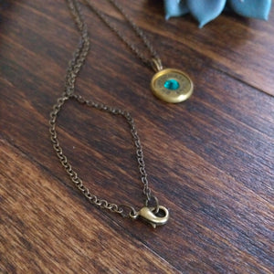 .45 Caliber Pendant Necklace with Turquoise Swarovski Gemstone