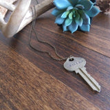 Handstamped Upcycled Key Necklace - FAITH