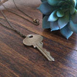 Handstamped Upcycled Key Necklace - LOVED