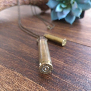 Rifle Shell Pendant Long Layers Necklace