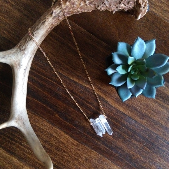 Raw Quartz Crystal Necklace - Trio