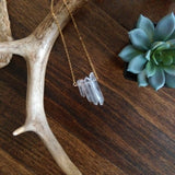 Raw Quartz Crystal Necklace - Graduated