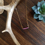 Beaded Bar Necklace - Rose