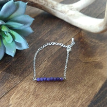 Beaded Bar Bracelet - Amethyst