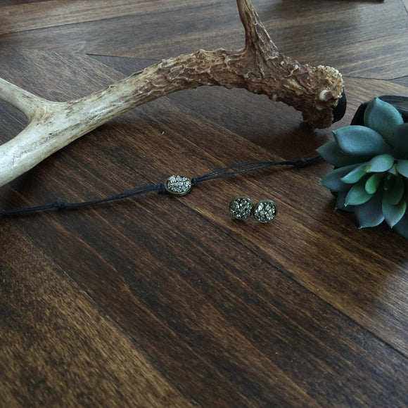 Crushed Pyrite Choker + Crushed Pyrite Earrings {Set}