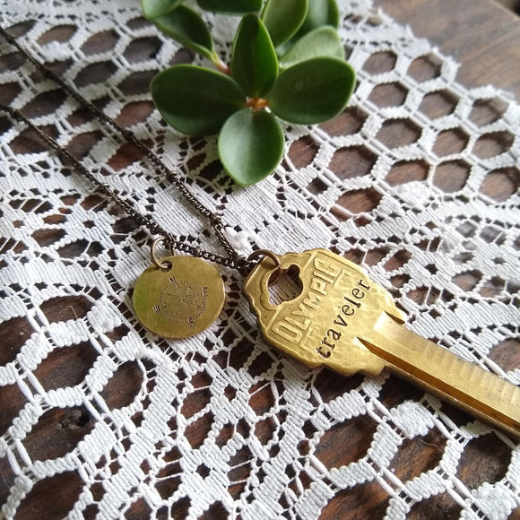 Vintage Upcycled Key Necklace - traveler