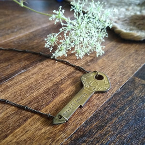 Vintage Key Bar Necklace - wildflower