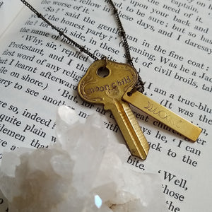 Handstamped Upcycled Key Necklace - MOON CHILD