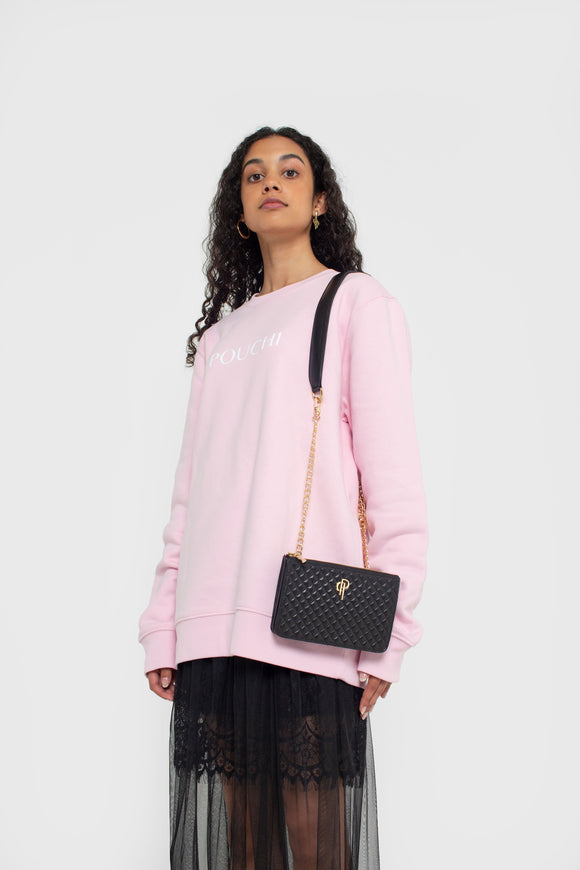Soft Pink Sweater with POUCHI print