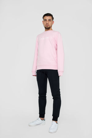 Unisex Soft Pink Sweater with POUCHI print