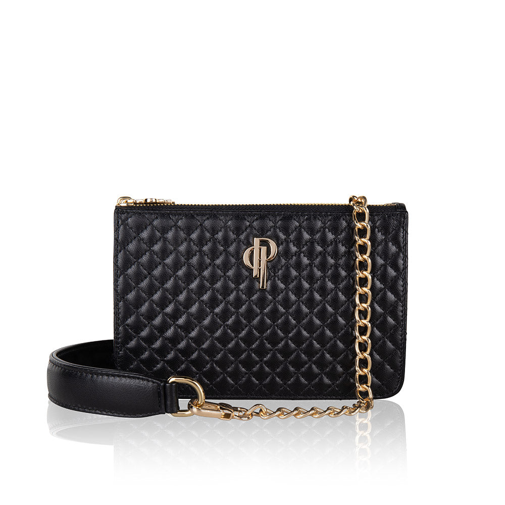 Quilted multifunctional fannypack and crossbody genuine lambskin leather bag with gold hardware