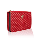 Quilted multifunctional fannypack and crossbody genuine lambskin leather bag (side image red)