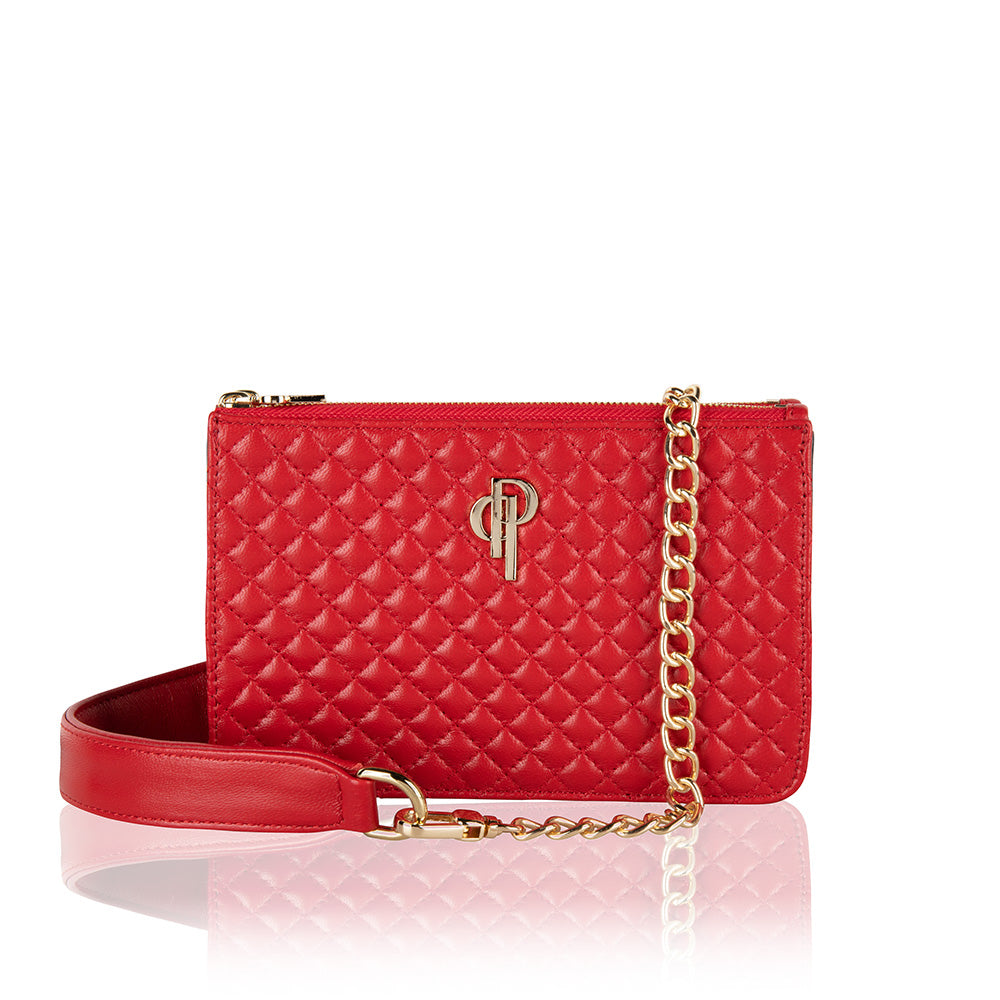 Red Quilted multifunctional fannypack and crossbody genuine lambskin leather bag with gold hardware