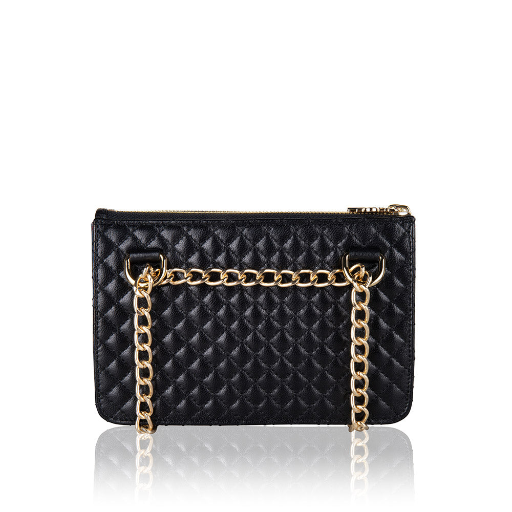 Quilted multifunctional fannypack and crossbody genuine lambskin leather bag with gold hardware (back image)