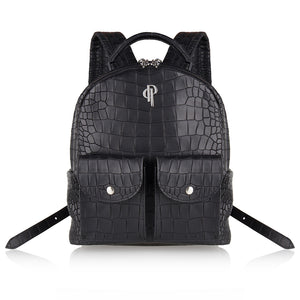 POUCHI backpack calf leather embossed croco