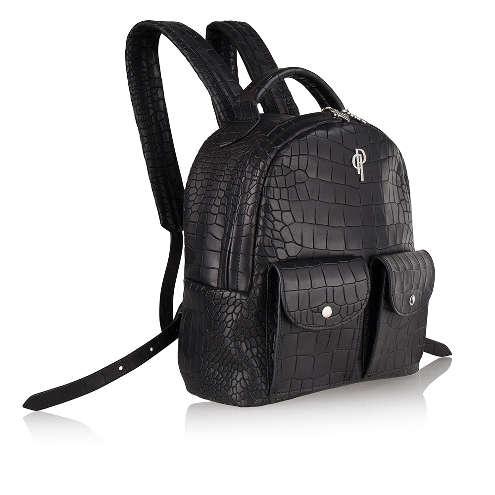 Pouchi backpack calf leather embossed croco - side image