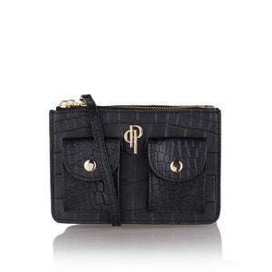Black POUCHI multifunctional fannypack and crossbody bag