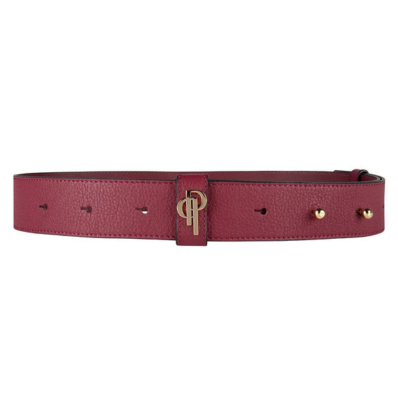 Burgundy belt pouchi with monogram logo