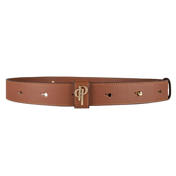 Cognac belt pouchi with monogram logo